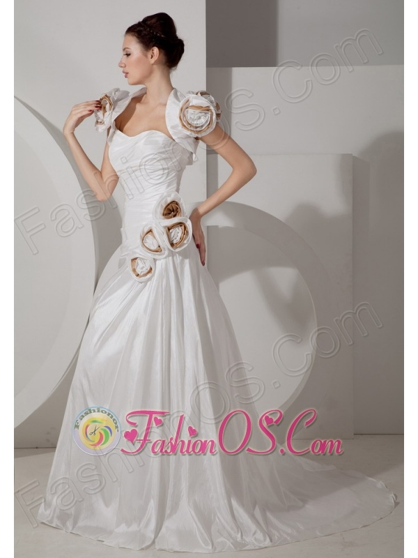 Low Cost A-line Sweetheart Wedding Dress Court TrainTaffeta Ruch