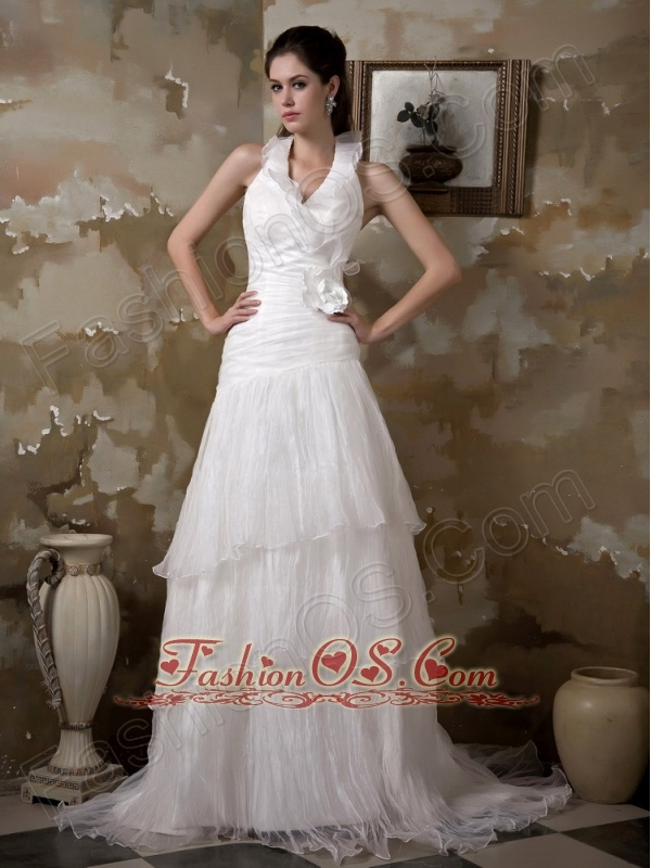 Pretty A-line Halter Wedding Dress Court Train Taffeta and Organza Hand Made Flower