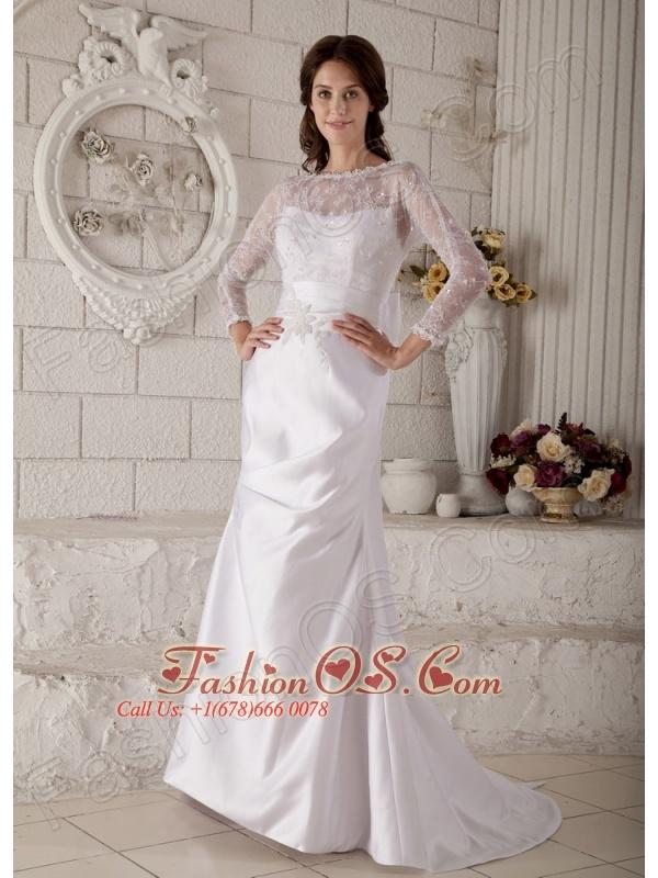 Remarkable Mermaid Bateau Lace and Appliques Wedding Dress Brush Train Satin