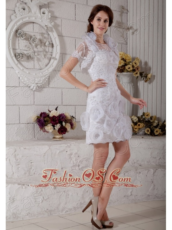 The Most Popular Column Scoop Short Wedding Dress Beading and Hand Made Flowers Mini-length Tulle