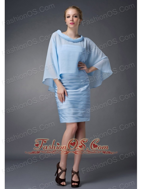 Custom Made Baby Blue Column Scoop Mother Of The Bride Dress Knee-length Chiffon Ruch