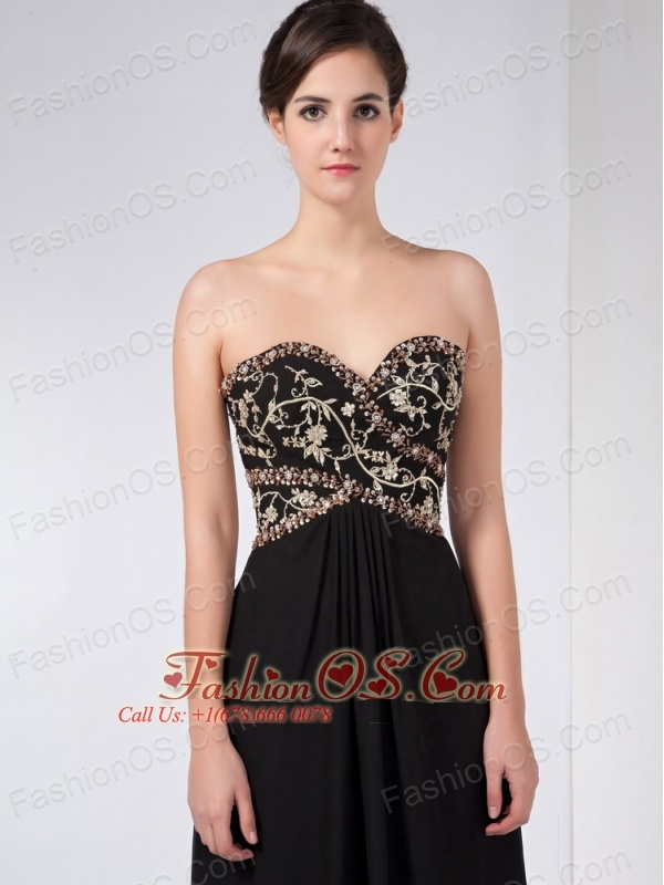 Custom Made Black Column Mother Of The Bride Dress Sweetheart Ankle-length Chiffon Beading