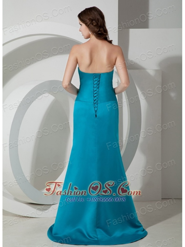 Custom Made Sky Blue Column / Sheath Homecoming Dress Strapless Brush / Sweep Satin