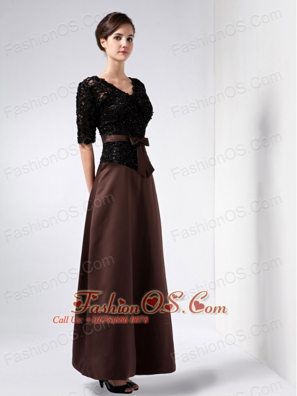 Elegant Brown Mother Of The Bride Dress Column V-neck Beading ...