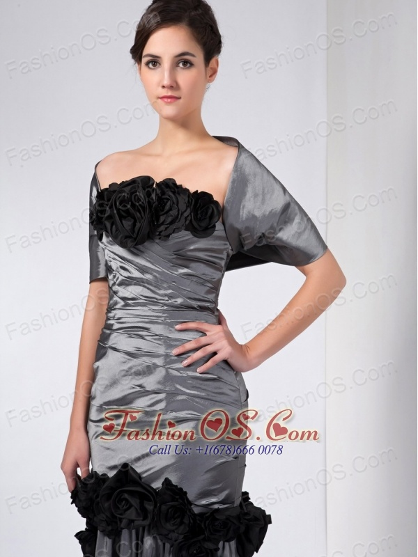 Fashionable Grey Column Mother Of The Bride Dress Strapless Hand Made Flowers Ankle-length Taffeta
