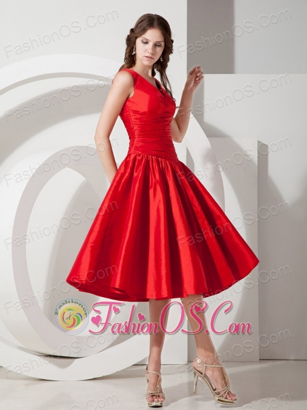 Sweet Red A-Line / Princess V-neck Evening Dress Tea-length Taffeta ...