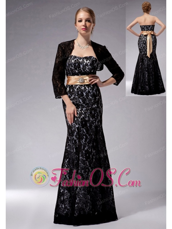 Beautiful Black Column Strapless Mother Of The Bride Dress Lace Sash Floor-length