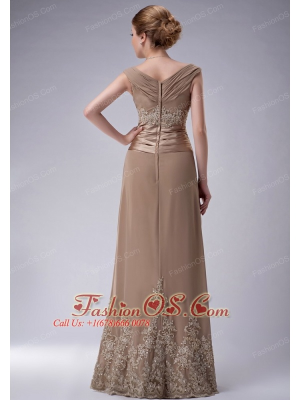 Beautiful Champagne Column V-neck Mother Of The Bride Dress Chiffon Appliques Floor-length
