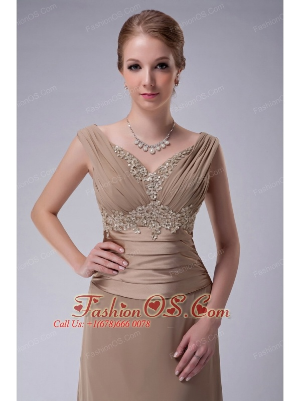 Beautiful Champagne Column V-neck Mother Of The Bride Dress ...