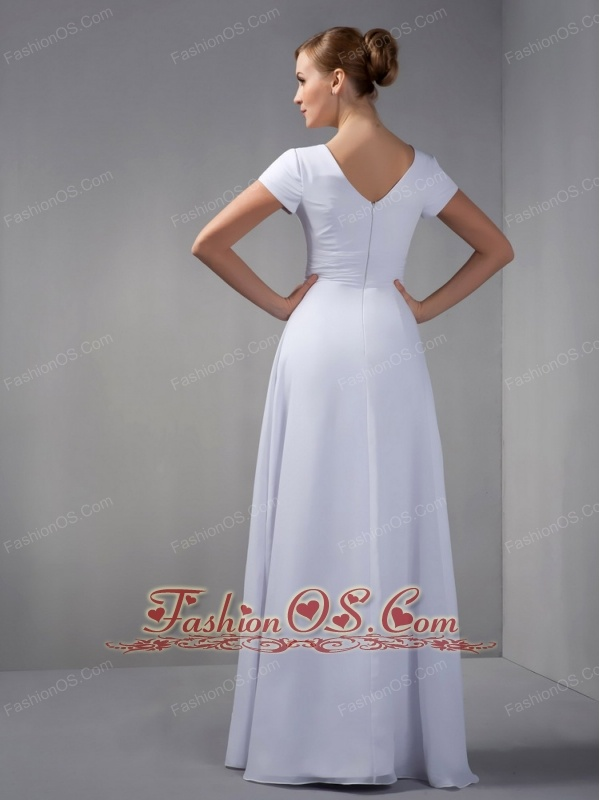 Cheap Ivory Column Mother Of The Bride Dress Square Beading Floor-length Chiffon