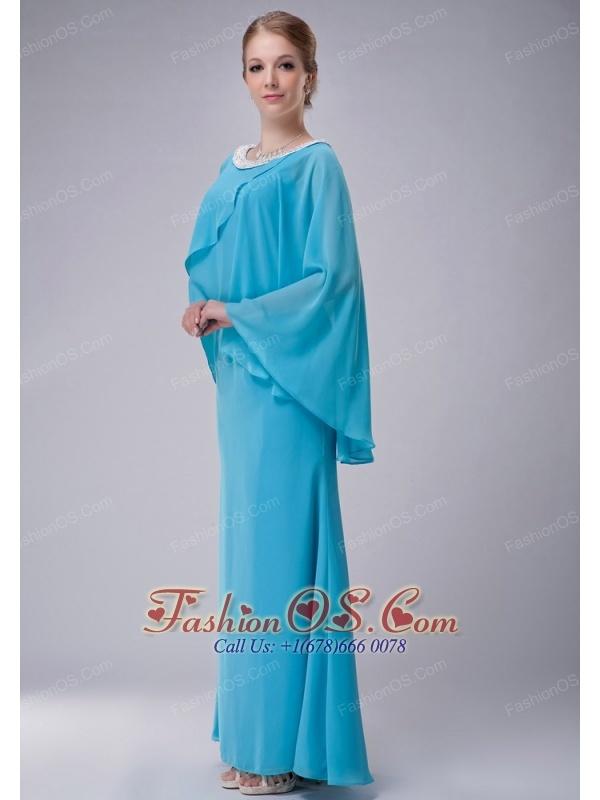 Custom Made Aqua Blue Column Scoop Mother Of The Bride Dress Chiffon Beading Floor-length