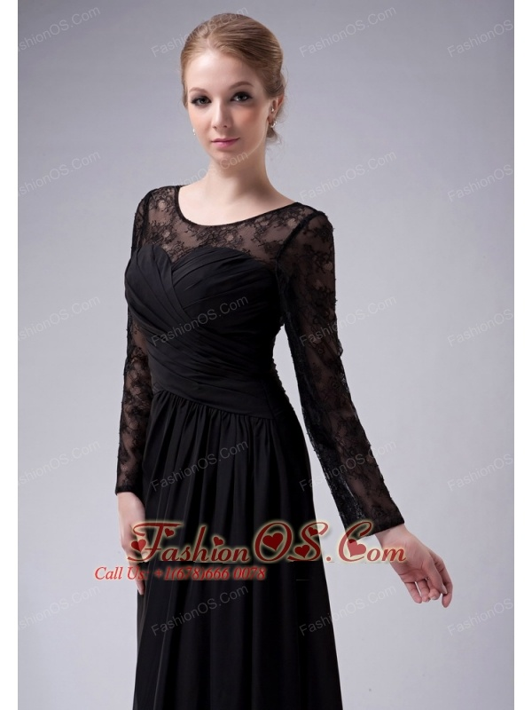 Custom Made Black Empire Scoop Mother Of The Bride Dress Chiffon Ruch Floor-length