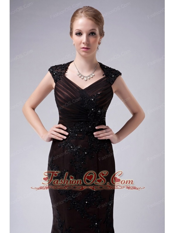 Custom Made Brown Mermaid V-neck Mother Of The Bride Dress Taffeta Appliques Floor-length