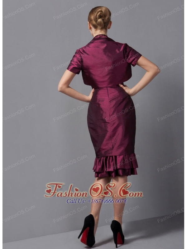 Custom Made Burgundy Column Mother Of The Bride Dress Straps Ruch Knee-length Taffeta