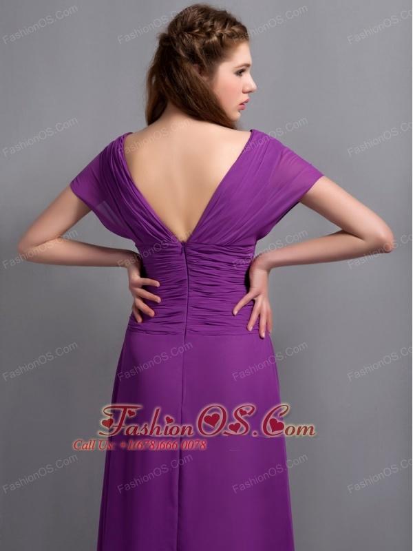 Custom Made Eggplant Purple Column Mother Of The Brides Dress V-neck Ruch Floor-length Chiffon