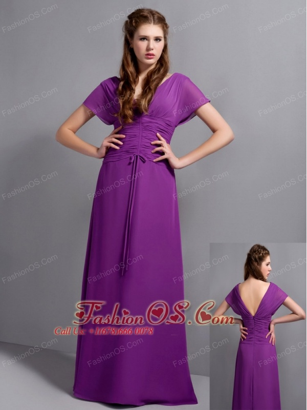 Custom Made Eggplant Purple Column Mother Of The Brides Dress V-neck ...