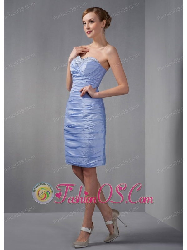 Custom Made Lilac Column Mother Of The Bride Dress Sweetheart Ruch and Beading Knee-length Taffeta