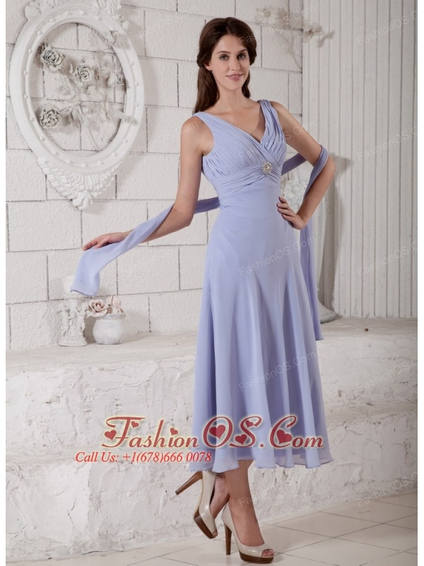 Custom Made Lilac Empire V-neck Mother Of The Bride Dress Tea-length Chiffon Ruch and Beading