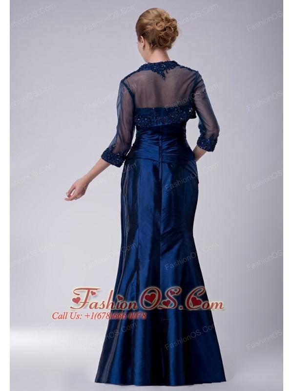 Custom Made Navy Blue Column Strapless Mother Of The Bride Dress Taffeta Appliques Floor-length