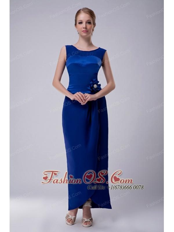 Custom Made Royal Blue Column Bateau Mother Of The Bride Dress Ankle-length Taffeta Hand Made Flower