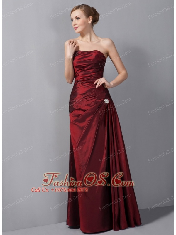 Custom Made Wine Red Column Mother Of The Bride Dress Strapless Ruch Floor-length Taffeta