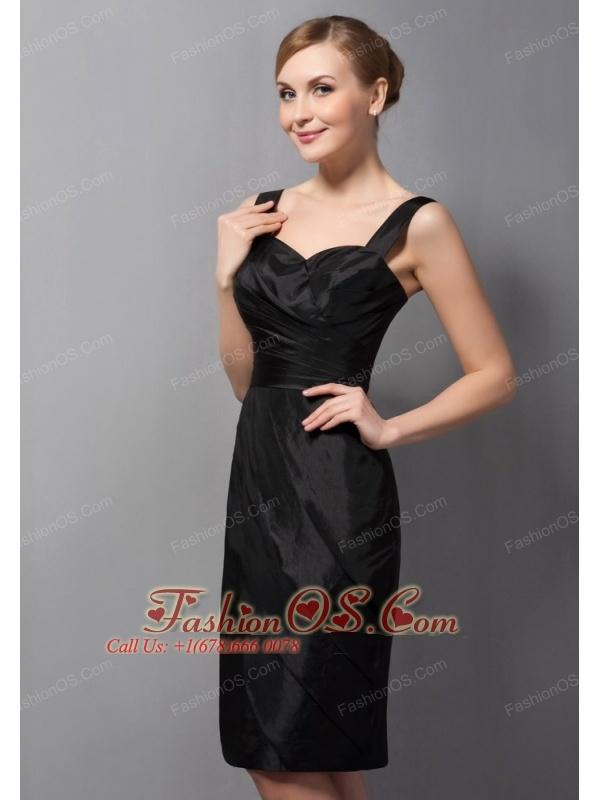 Customize Black Column Mother Of The Bride Dress Straps Ruch Mini-length Taffeta