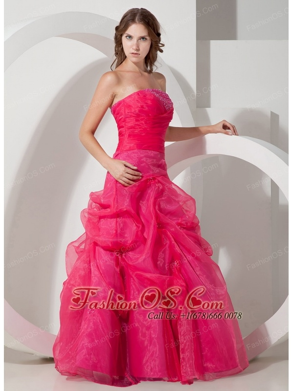 Customize Hot Pink A-line Strapless Beading Prom Dress Floor-length Organza