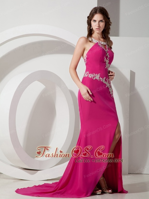 Customize Hot Pink Mermaid / Trumpet Square Appliques Prom Dress ...