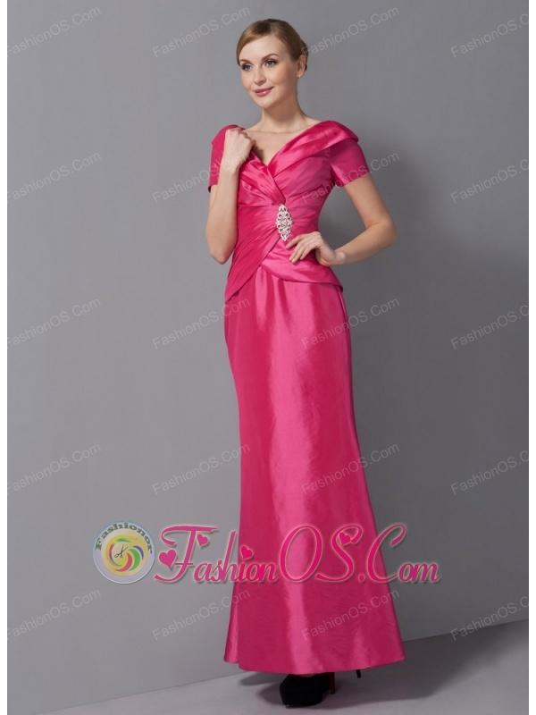 Customize Hot Pink Mother Of The Bride Dress Column V-neck Ruch Ankle-length Taffeta