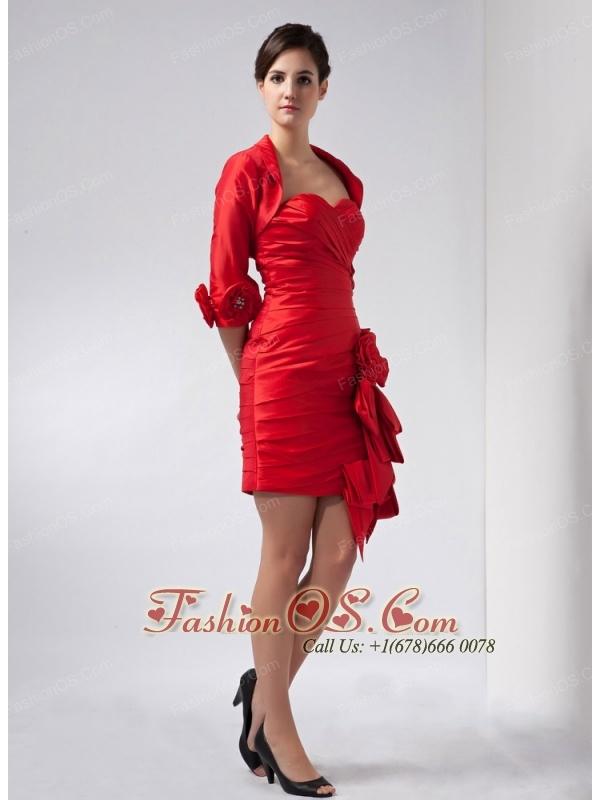 Customize Red Column Sweetheart Mini-length Taffeta Hand Made Flowers Prom Dress