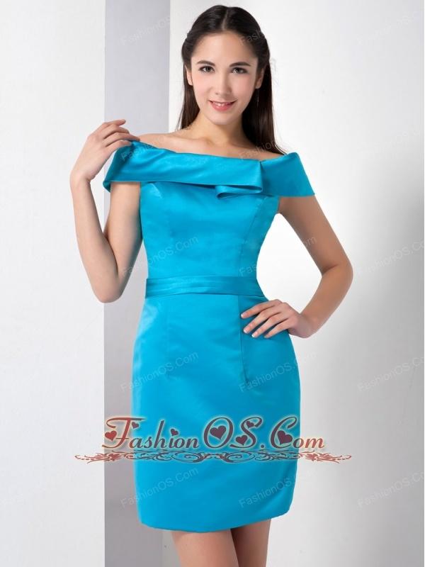 Customize Teal Column Mother Of The Brides Dress Off The Shoulder Mini-length Satin