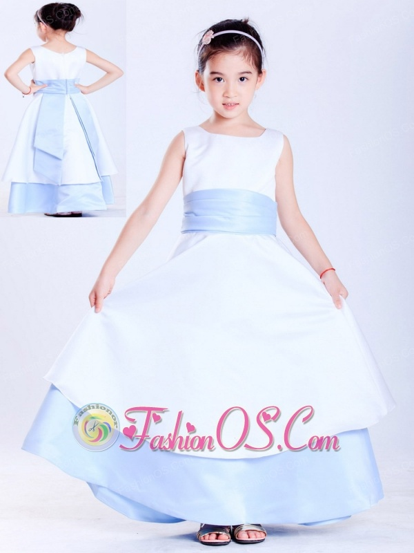Customize white and light blue a line scoop sash flower girl dress customize white and light blue a line scoop sash flower girl dress ankle length mightylinksfo