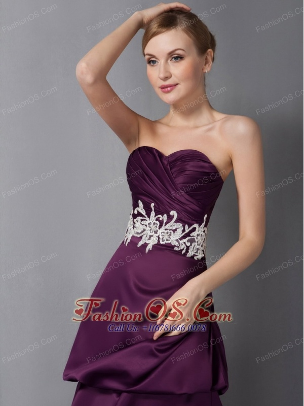 Cute Dark Purple Mother Of The Bride Dress Column Sweetheart Appliques Ankle-length Ankle-length