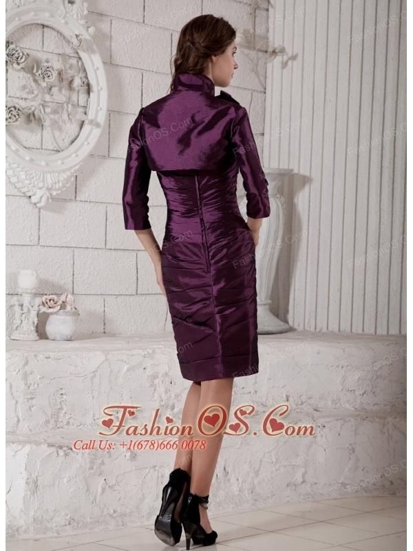 Elegant Purple Column Mother of the Bride Dress Strapless Hand Made Flower and Ruch Knee-length Taffeta
