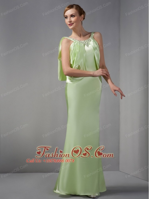 Elegant Spring Green Mother Of The Brides Dress Column Scoop Beading Floor-length Elastic Woven Satin