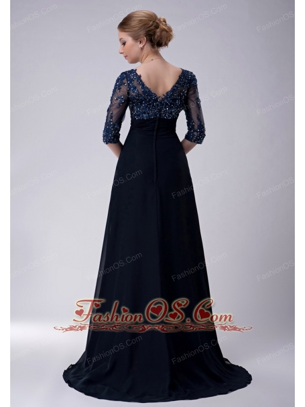 Exclusive Navy Blue Empire V-neck Mother Of The Bride Dress Brush Train Chiffon Appliques