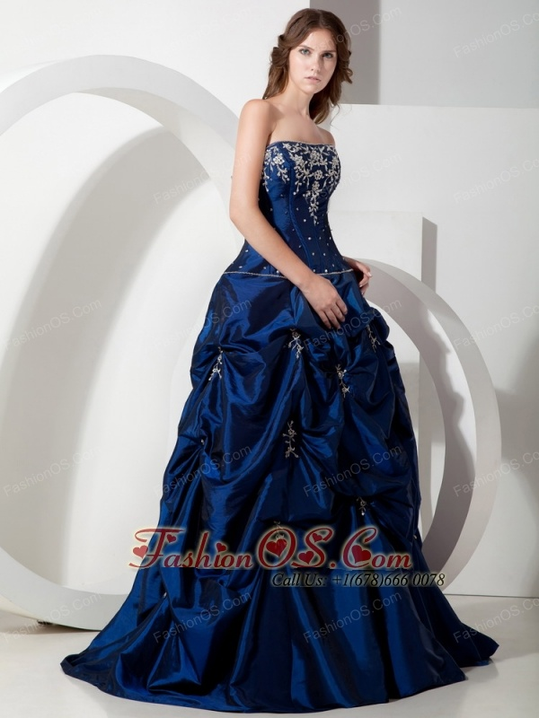 Informal Royal Blue A Line Strapless Floor Length Taffeta Appliques
