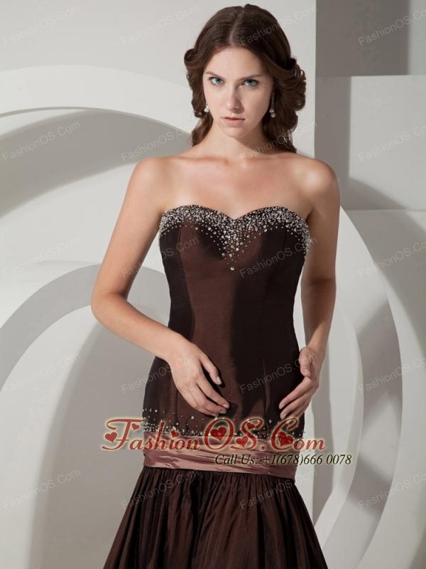 brown mermaid prom dress