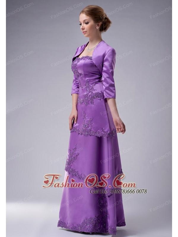 Modest Eggplant Purple Empire Strapless Mother Of The Bride Dress Satin Appliques Floor-length