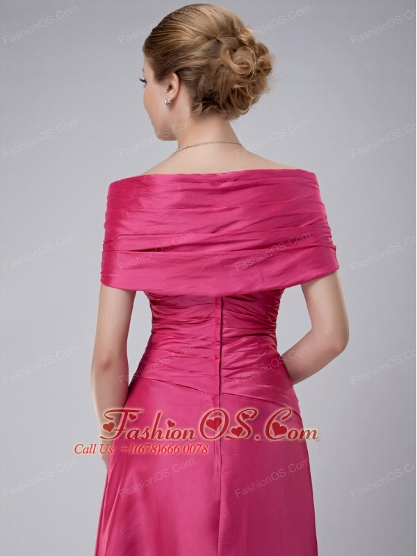 Modest Hot Pink Column Off The Shoulder Mother Of The Bride Dress Ankle-length Taffeta Ruch