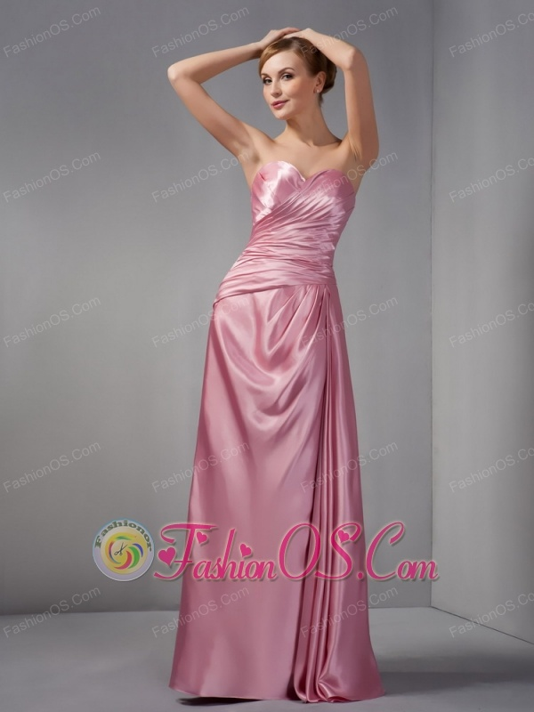 Modest Rose Pink Column Mother Of The Bride Dress Sweetheart Ruch Floor-length Taffeta