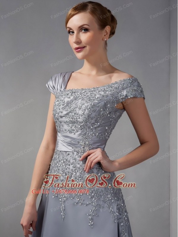 Perfect Gray Column Mother Of The Bride Dress Asymmetrical Liques Ankle Length Satin