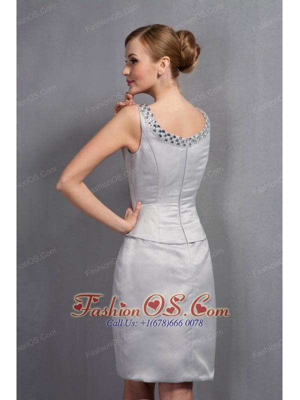 Gray column mother of the bride dress scoop beading knee length satin