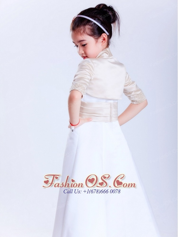 Simple White A-line Strapless Beading Flower Girl Dress  Ankle-length Satin