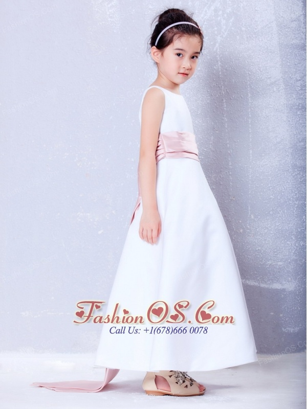 Simple White and Pink A-line Scoop Sash Flower Girl Dress Ankle-length Taffeta
