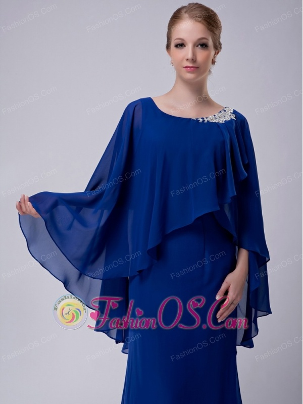 Special Royal Blue Column Scoop Mother Of The Bride Dress Floor-length Chiffon Appliques