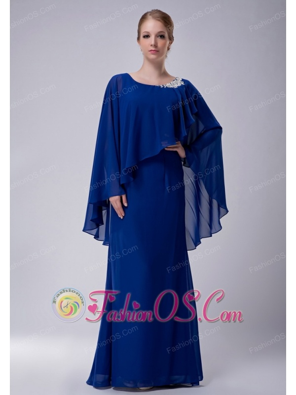 Special Royal Blue Column Scoop Mother Of The Bride Dress Floor Length Chiffon Liques