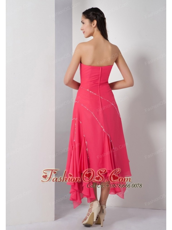 Unique Coral Red Mother Of The Brides Dress Empire Strapless Sequins Asymmetrical Chiffon