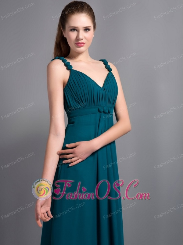 Affordable Turquoise V-neck  Ankle-length Bridesmaid Dress Chiffon