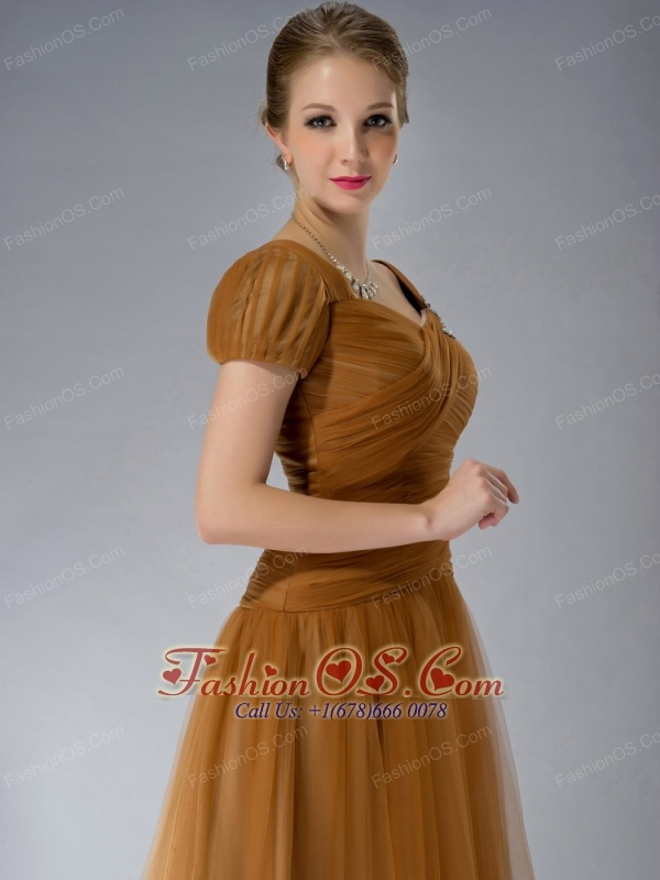 Beautiful Brown Empire Square Mother Of The Bride Dress Brush Train Tulle Appliques